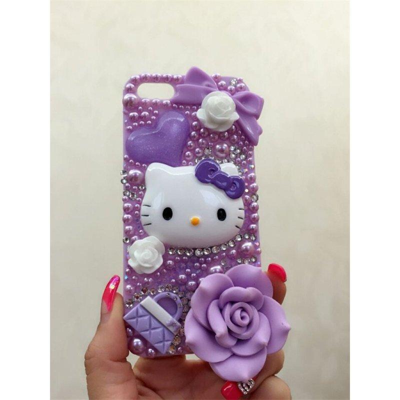 紫色可爱猫猫苹果各式手机外壳iphone6/plus水钻凯特猫 holle kitty猫
