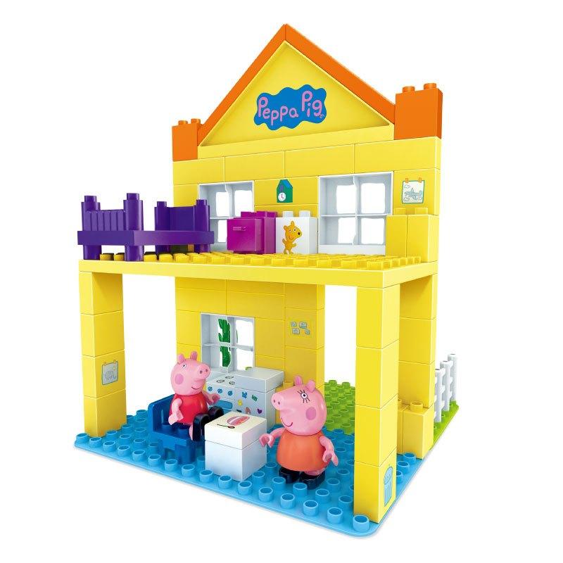 正版peppapig小猪佩奇情景玩具积木邦宝过家家拼插粉红猪佩奇家豪华