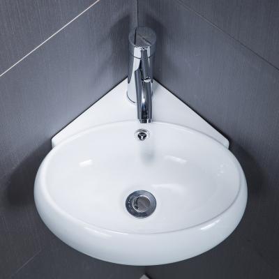泓派卫浴挂墙式洗手盆小户型卫生间洗脸盆迷你三角面盆阳台陶瓷挂盆洗手池