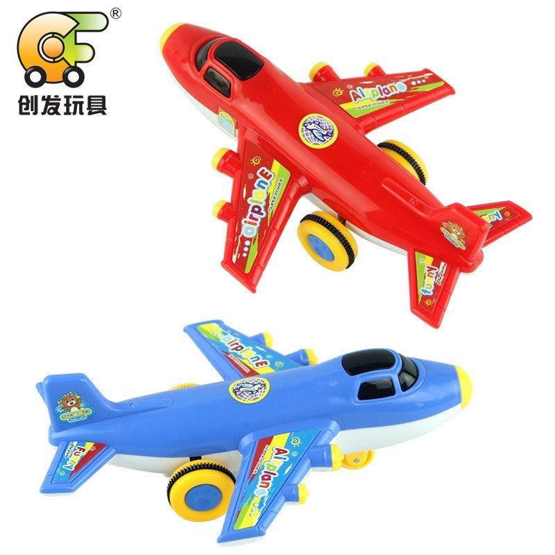 新品创发2017 可爱灯光带音乐玩具惯性飞机 儿童惯性玩具六只套装