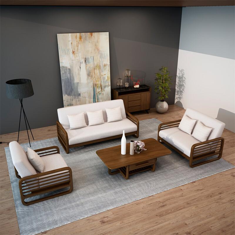 慕尼思丹沙发实木沙发布艺沙发客厅沙发小户型北欧沙发单人位 双人位