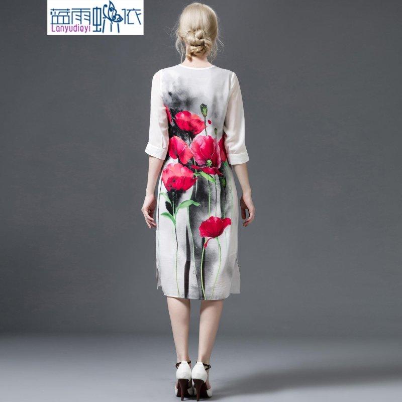 欧洲站2016春夏新款 欧美民族风水墨画印花v领连衣裙女a343