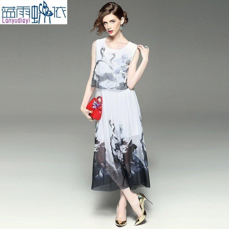 2016夏欧美时尚新款圆领无袖贴口袋仙鹤印花收腰假两件大摆连衣裙