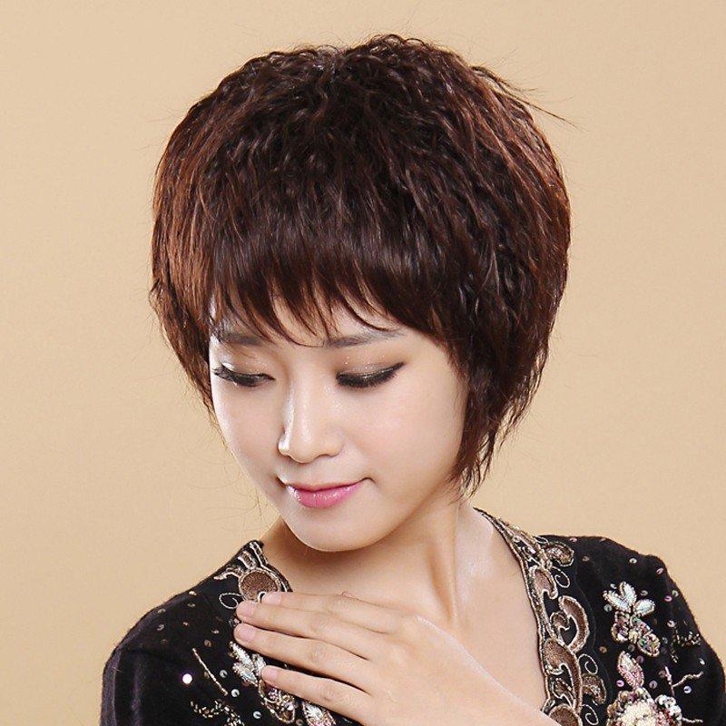 斜刘海假发女士头套短卷刘海真发斜刘海短发卷发短卷发套 假发女