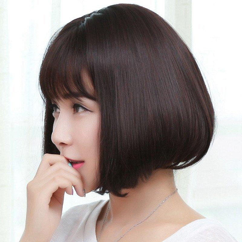 空气刘海短发修饰圆脸假发女短发齐刘海直发沙宣发型