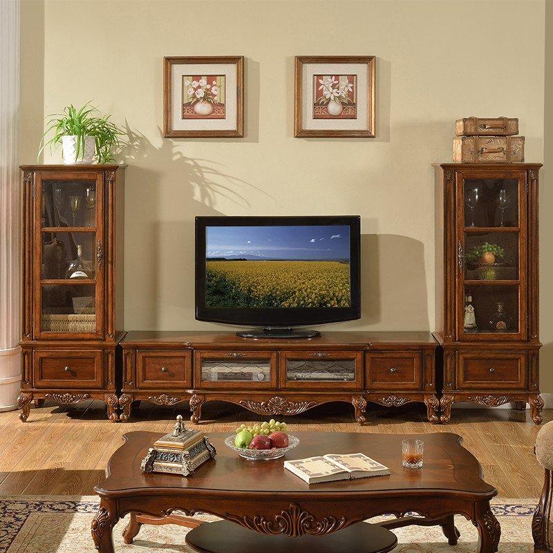 凯美格 美式电视柜 客厅欧式实木电视机柜 地柜组合乡村家具仿古