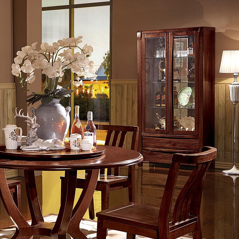 新中式客厅间厅隔断柜 装饰柜 北欧简约玻璃柜子储物柜 胡桃木色