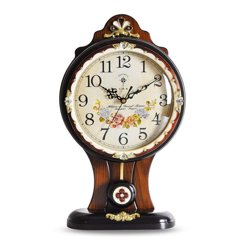 北极星客厅欧式静音挂钟实木装饰台钟创意田园座钟艺术卧室石英钟现代
