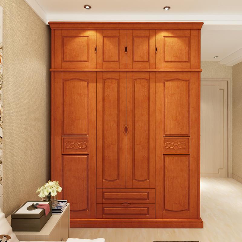 祥融家具 现代中式推拉门衣柜实木衣柜卧室家具组合简易大衣柜四门