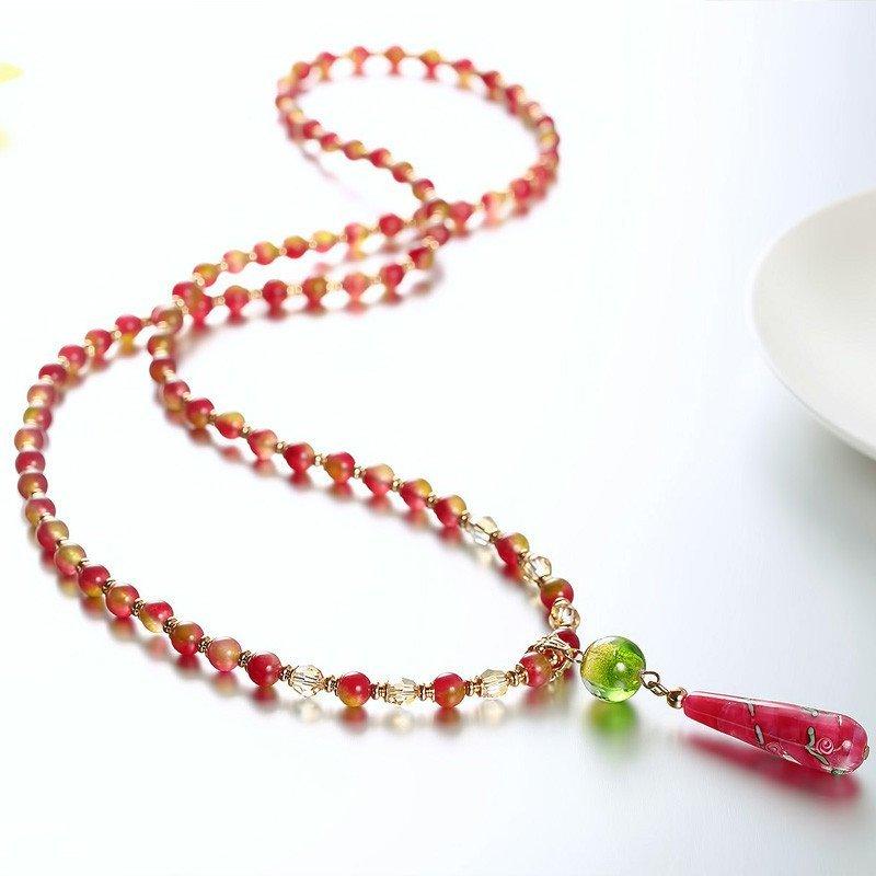 巴西西瓜玉髓日本手绘珠时尚多彩水晶项链时尚小清新浪漫毛衣链