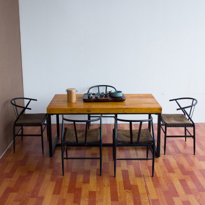 gui 仿古实木简约铁艺简易茶几喝茶桌小户型客厅现代功夫茶台桌椅组合