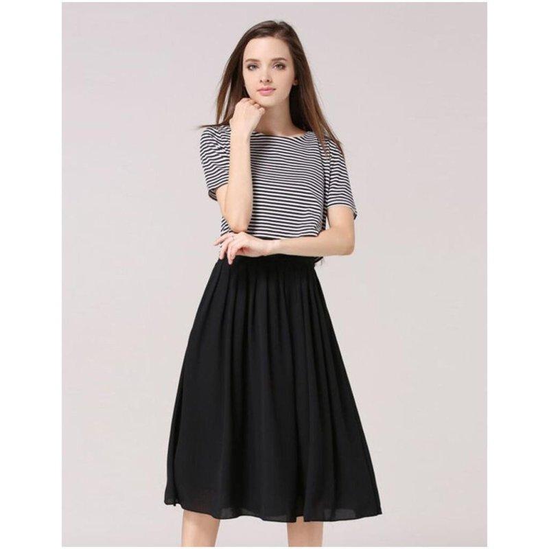 qinqing 玛利佳2016夏装新款 显瘦条纹可爱蝴蝶结短袖上衣 中长裙套装