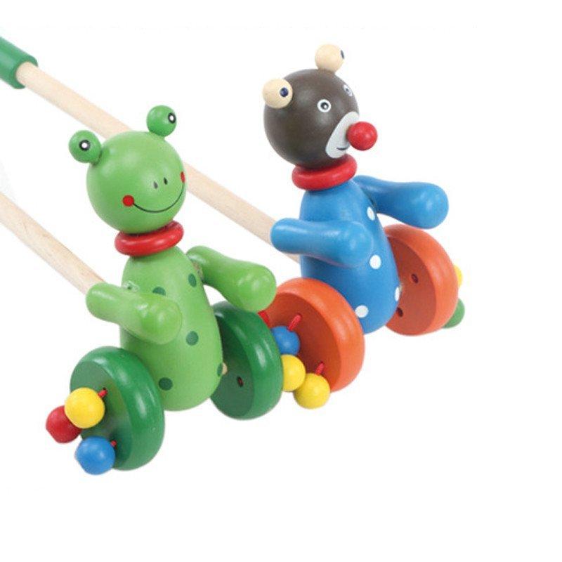 木制卡通可爱动物推车手推积木车婴幼儿学步发声咔哒宝宝推车玩具