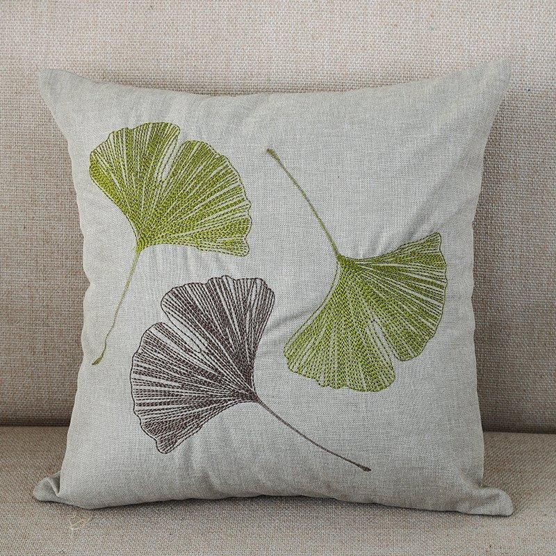 小艾家居 刺绣银杏树叶落叶抱枕套不含芯布艺靠垫汽车