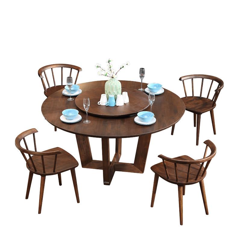沃购北欧进口全实木餐桌椅组合6-8人橡木原木圆形大圆桌带转盘