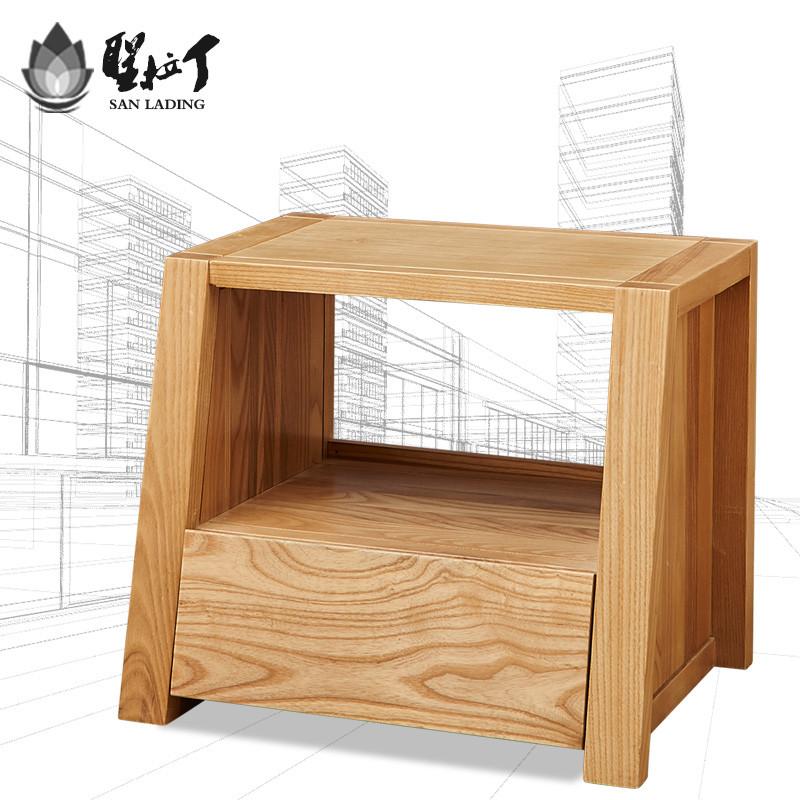 圣拉丁 床头柜简约现代新中式北欧卧室实木床头柜子储图片
