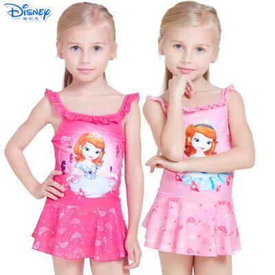 Disney迪士尼苏菲亚公主儿童泳衣连衣裙游泳衣女童宝宝连体速干卡通泳装