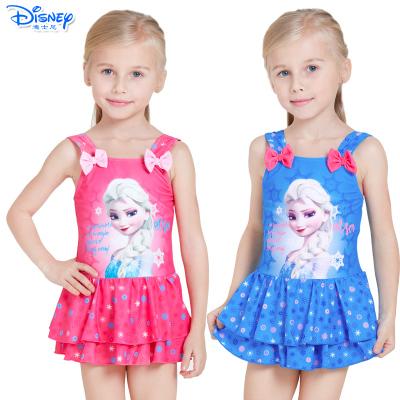 迪士尼(Disney)冰雪奇缘儿童泳衣速干卡通连衣裙游泳衣女童宝宝连体泳装
