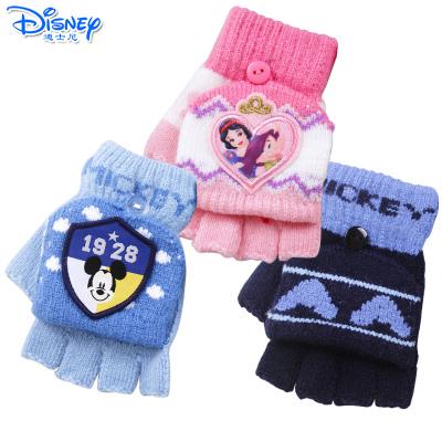 迪士尼(Disney)儿童宝宝保暖手套男女童手套冬季卡通针织半指翻盖魔术手套