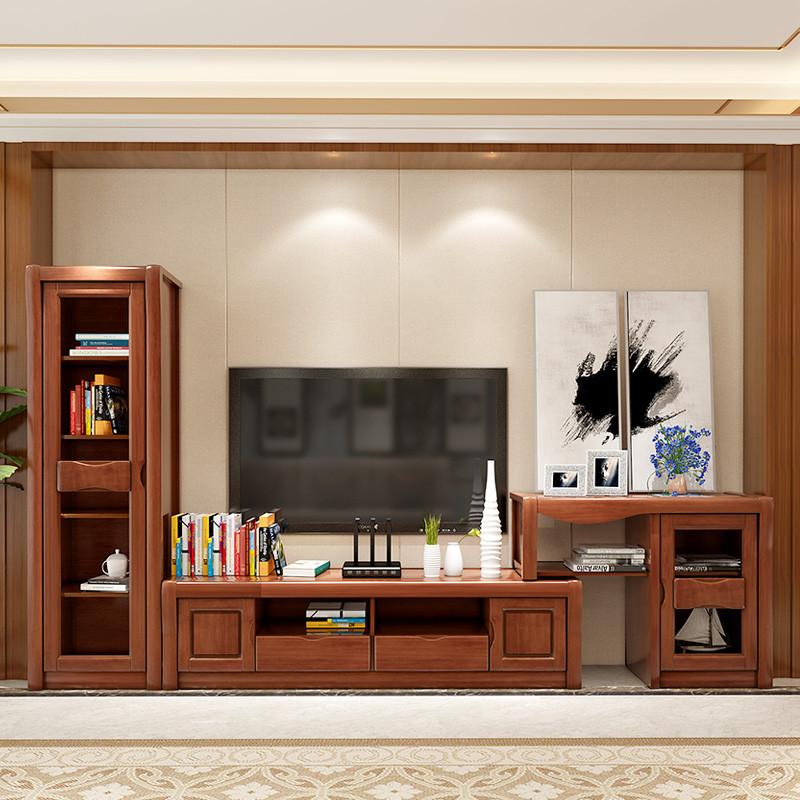 青木川 实木电视柜 可伸缩高低组合柜 茶几背景墙酒柜
