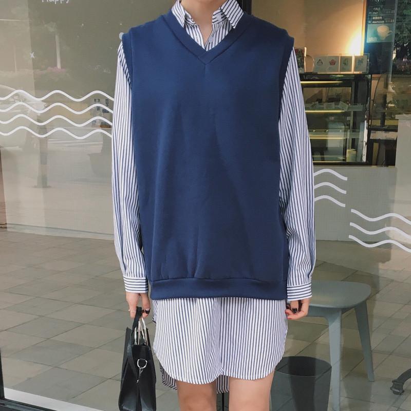娇米诗2018春季无袖背心卫衣 蓝色条纹衬衣连衣裙两件