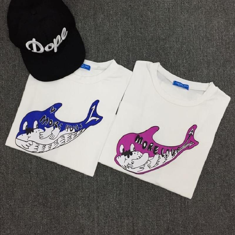 卡通可爱大海豚百搭宽松短袖t恤女