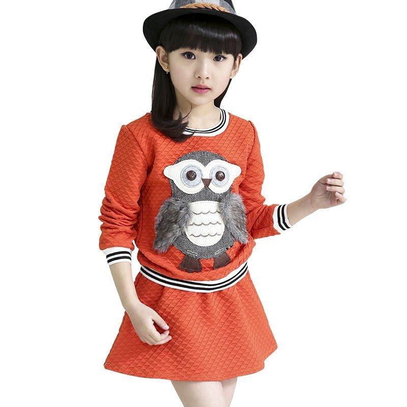 童_童装女童春装儿童运动套装2016新款中大童韩版时尚休闲长袖卡通卫衣两