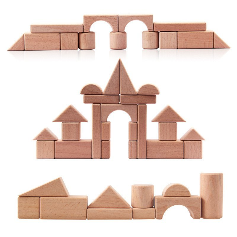 儿童木制100粒大块环保原色积木宝宝益智原木积木早教木质玩具 100粒