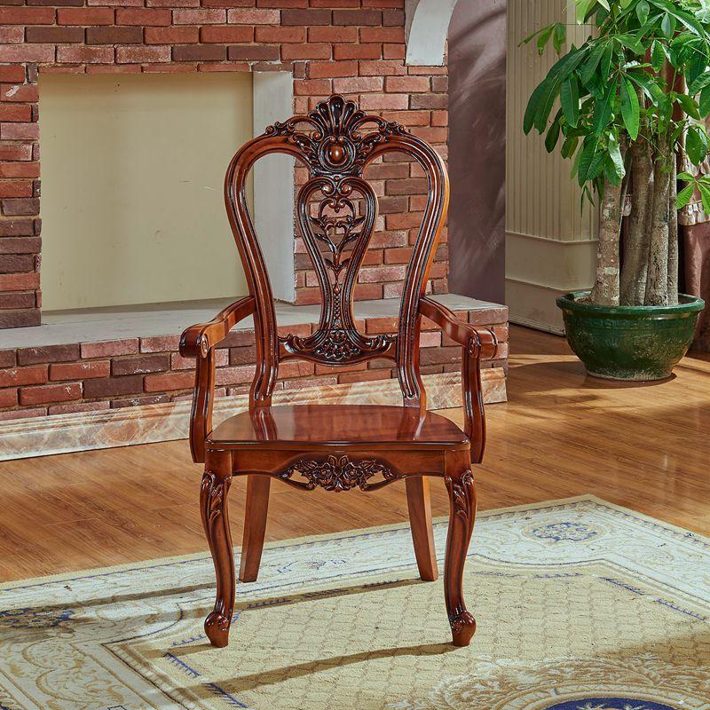 宫寓家具欧式实木真皮餐椅 麻将椅 雕花真皮椅子 高档