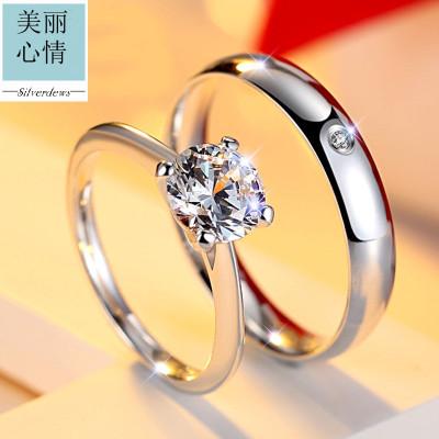 in-sunshine 纯纯的爱情侣戒指 韩国男女开口 情侣戒 时尚戒指 铂金色戒指 钻石戒指 镶瑞士钻 银色戒指
