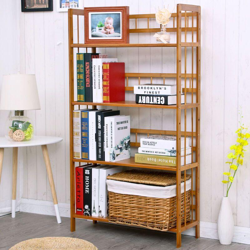 置物架楠竹简易多层实木储物架现代简约学生落地创意书柜特价竹制书架图片