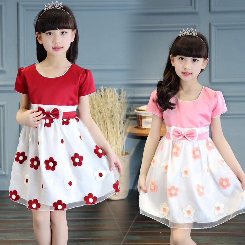 小女孩连衣裙夏款短袖公主裙韩版女童连衣长裙子夏装修身淑女裙5-13岁