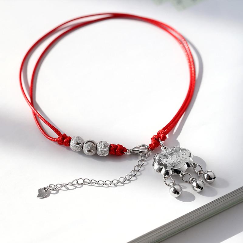 999纯银银锁红绳转运珠铃铛脚链女编织 复古韩版简约学生闺蜜足链