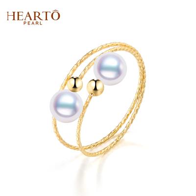 海瞳 【雙子星】18K金 日本海水珍珠戒指 韓范時尚款多層 4.5-5mm 戒指 珍珠正圓 送自己愛人