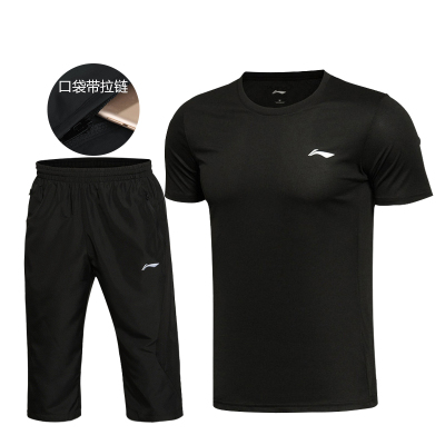 李宁七分裤运动套装男 短袖T恤圆领 速干夏季款休闲跑步套装