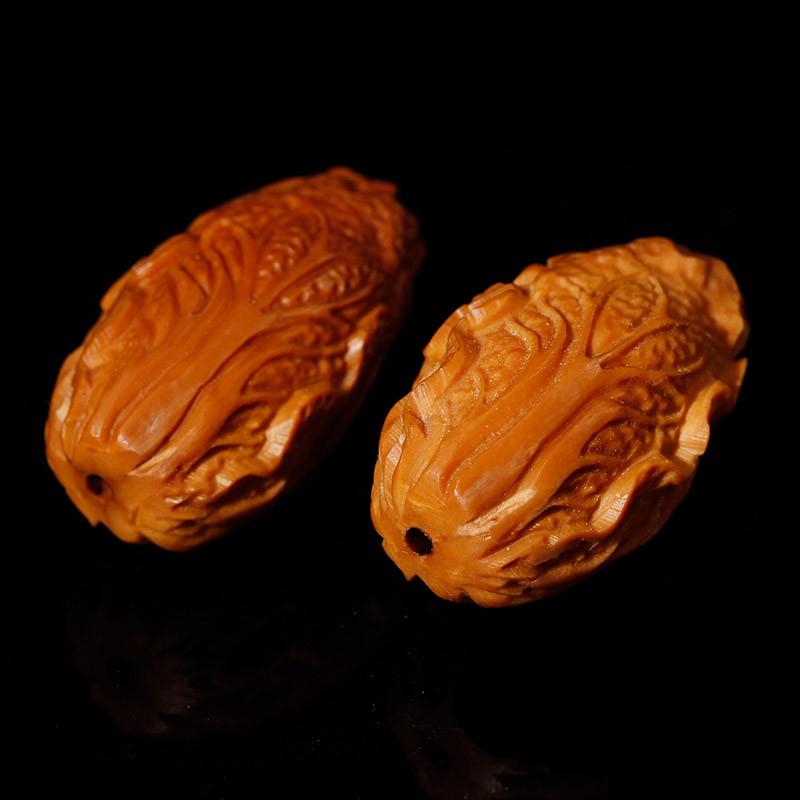 集祥阁 diy橄榄核手串核雕橄榄核雕刻白菜生意兴隆百财橄榄胡手串配珠