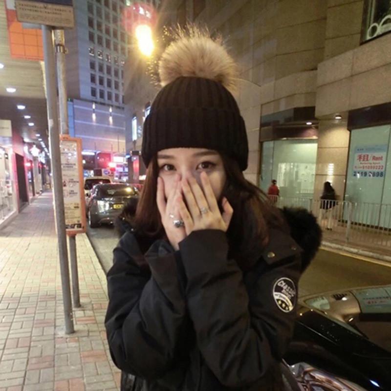 丹杰仕 2016雪梨同款冬季帽子 高品质貉子毛球加厚毛线 户外针织帽