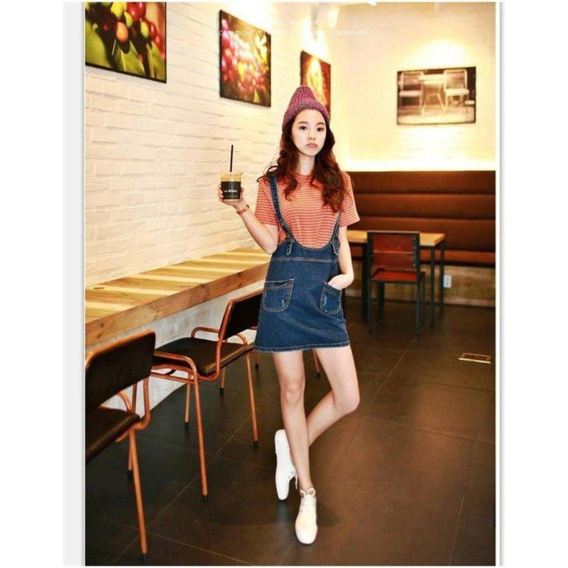 琳朵儿809#新款韩国口袋装饰包臀水洗牛仔背带裙休闲连衣裙女短裙潮