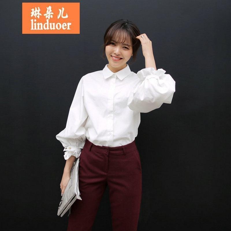 琳朵儿2016春季韩范学院风白色长袖衬衫宽松泡泡袖纯棉韩国复古灯笼袖