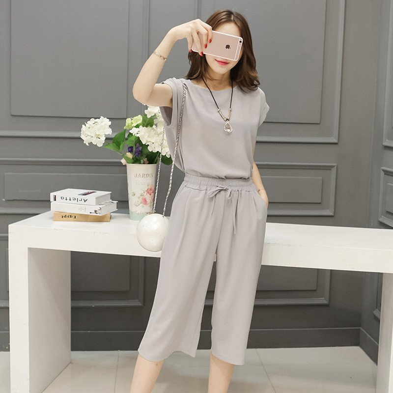阔盹�k�il9b�9���j��l`_琳朵儿2016夏装新款韩版麻料宽松上衣 阔腿裤套装 两件套