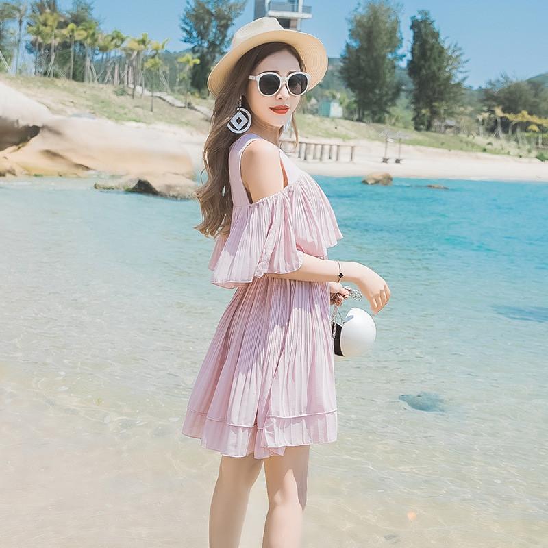 琳朵儿沙滩裙海边度假夏季新款雪纺皱褶荷叶边背心裙