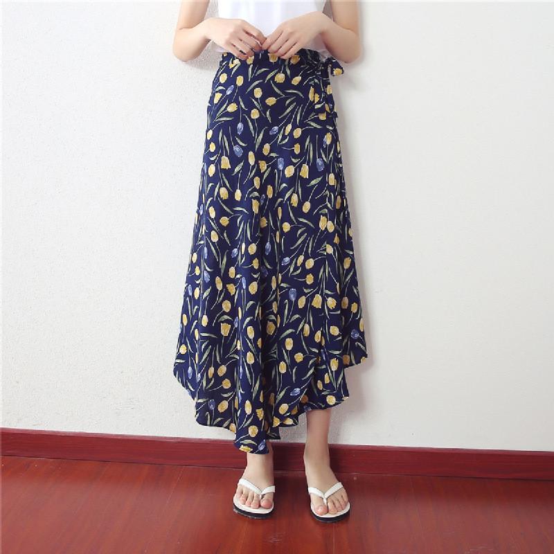 琳朵儿复古一片式系带半身裙高腰印花雪纺长裙沙滩裙女夏