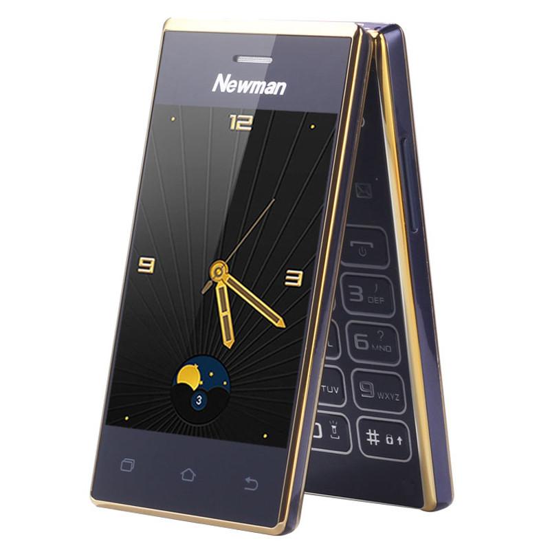 翻盖老人手机双触屏手写老年人手机大字大声手机 蓝金色