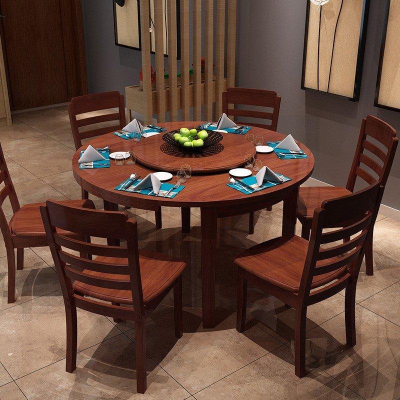 明佳友 实木餐桌椅组合 折叠伸缩圆桌 餐桌餐椅套装 饭桌 j802