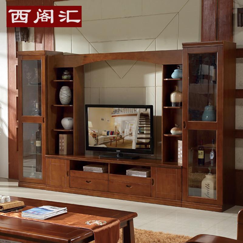 现代简约实木电视柜 实木组合柜客厅影视墙实木电视柜