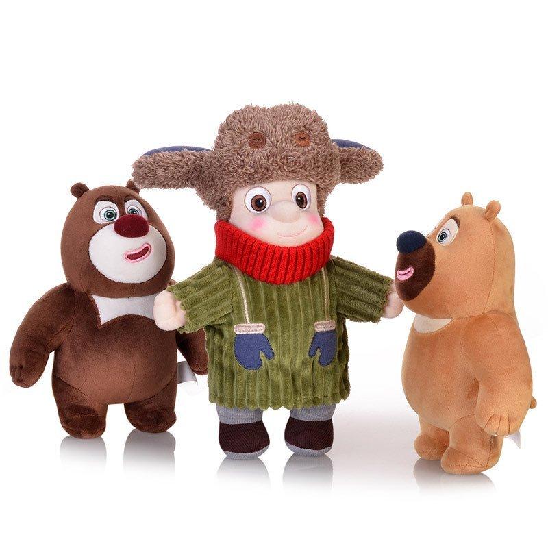 熊大熊二毛绒玩具雪熊团子光头强毛绒公仔熊出没雪岭熊风毛绒