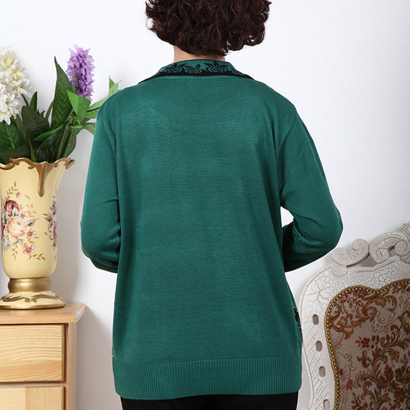 中老年女装外套春秋薄款 妈妈装针织衫长袖薄打底衫女士假两件 翻领