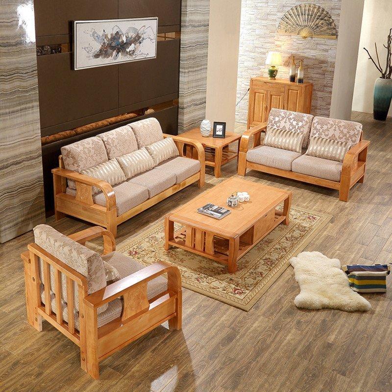 实木沙发 单人位 双人位 三人位贵妃茶几组合 客厅家具橡木高端全实木