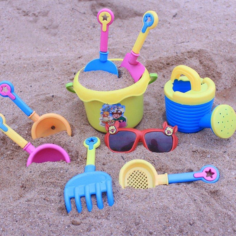 儿童沙滩玩具套装 大号宝宝玩沙挖沙漏铲子工具 决明子 【带眼镜】