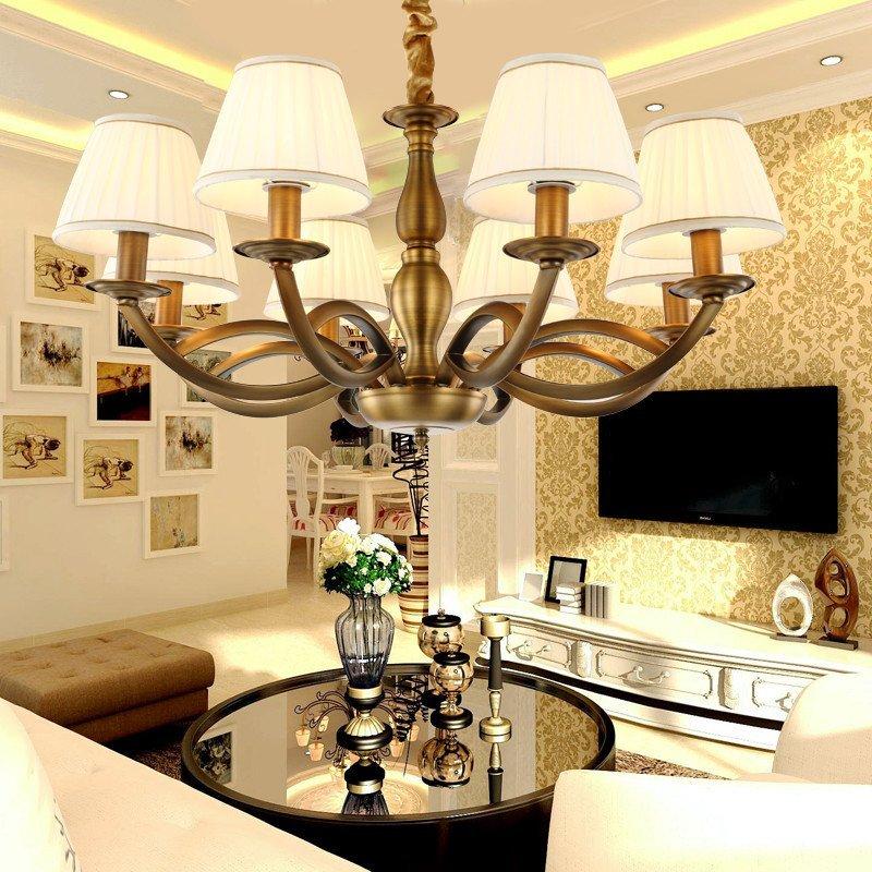 铁艺现代简约美式乡村吊灯 客厅灯具 卧室灯饰餐厅布艺灯罩吊灯图片